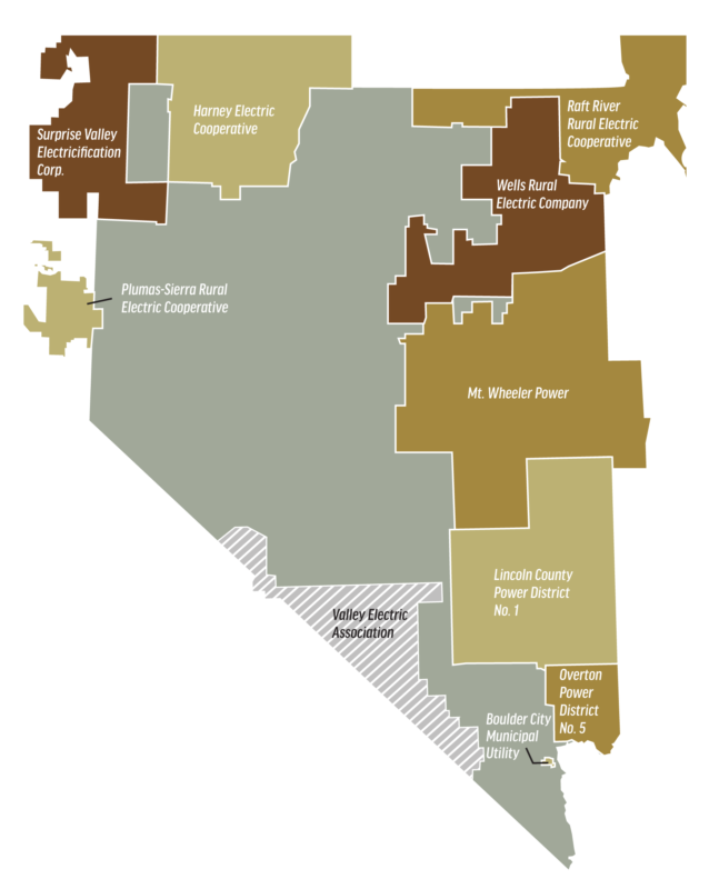 Service Areas NREA Nevada Rural Electric Association - Map of electric utilities in the us